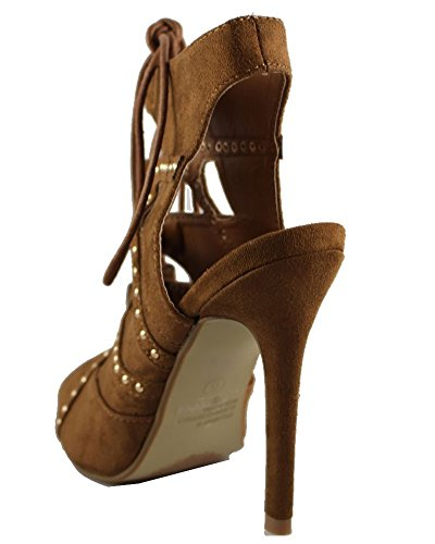 Without New up Lace Womens Box Suede Tan Heel Fashion New Sandal Pencil Shoes vwS1Tqp