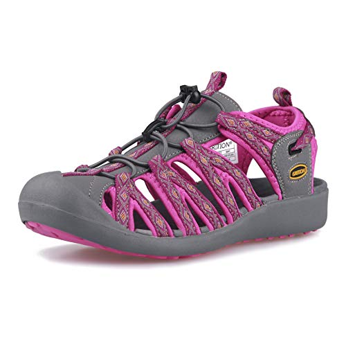 Image of GRITION Women Athletic Hiking Sandals Closed Toe Water Shoes Adventure Outdoor Sport Trail Summer (8 US, Pink)
