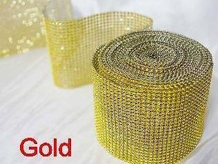 Nastro dorato ricoperto da 4/file di diamantini ideale per decorare torte nuziali o come decorazione per spose.