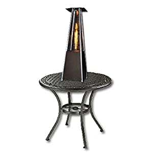 SUNHEAT Contemporary Square Design Tabletop Patio Heater with Decorative Variable Flame, Golden Hammered