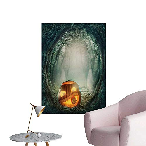 ParadiseDecor Halloween Art Stickers Drawing of Scary Halloween Pumpkin Enchanted Forest Mystic Twilight Party ArtOrange Teal W24 xL32 Custom -