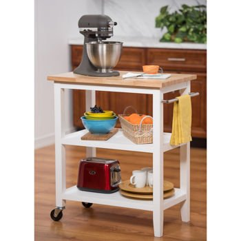 Commercial Grade 3-Tier Wooden Kitchen Cart with Swivel Casters in White
