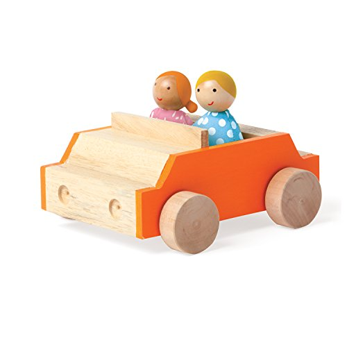 MIO Car + 2 Bean Bag People Peg Dolls Imaginative Montessori Style STEM Learning Wooden Building Playset Accessory for Boys and Girls 3 Years + Up by Manhattan Toy