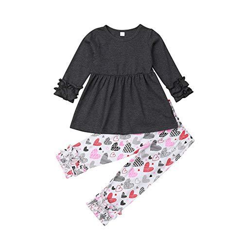 Toddler Kid Girls 2Pcs Clothing Set Ruffle Long Sleeve Tops+Heart Shaped Leggings Pants,2-7T (6-7T, Deep Grey)