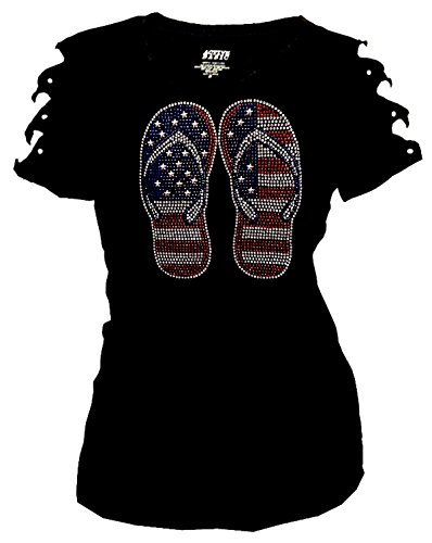 4th of July USA Flag, Flip Flop Bling Rhinestone T-Shirt Ripped Cut Out (2X-Large)