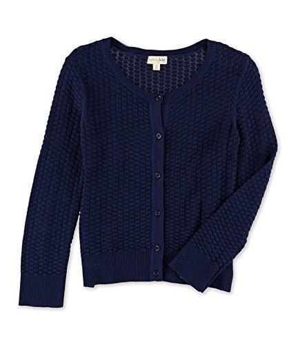 Trim Cardigan Ribbed (Maison Jules Womens Textured Ribbed Trim Cardigan Sweater Navy S)