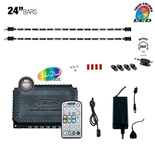 Cyron RGB LED Under Counter Cabinet Dimmable Multicolor Light TV Kitchen Accent Lighting Kit, Hi Def Series Controller, 360 Degrees Rotatable, 2 x 24 Inch LED Light - Cyron Led