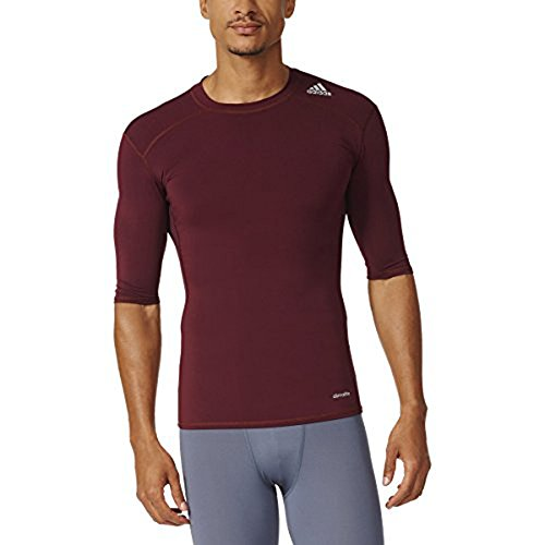 adidas Men's Techfit Compression Short Sleeve Top Maroon Shirt (Speed Adidas Level Next)
