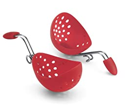 Cuisipro Egg Silicone Poacher Set of 2, Red