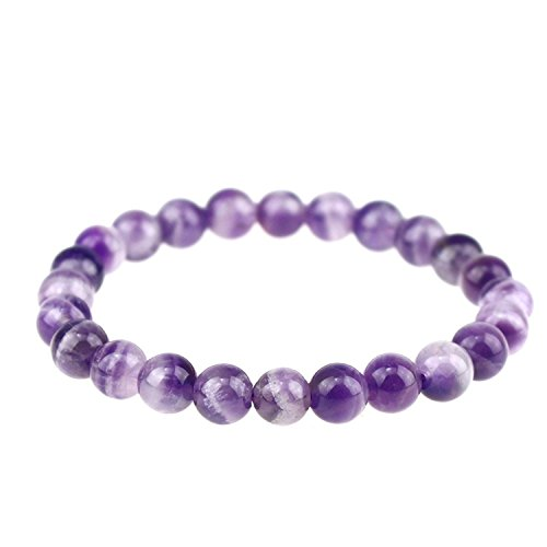 nergy Power Crystal 8mm Chakra Beads Reiki Healing Elastic Stretch Bracelet (Amethyst Power Bracelet)