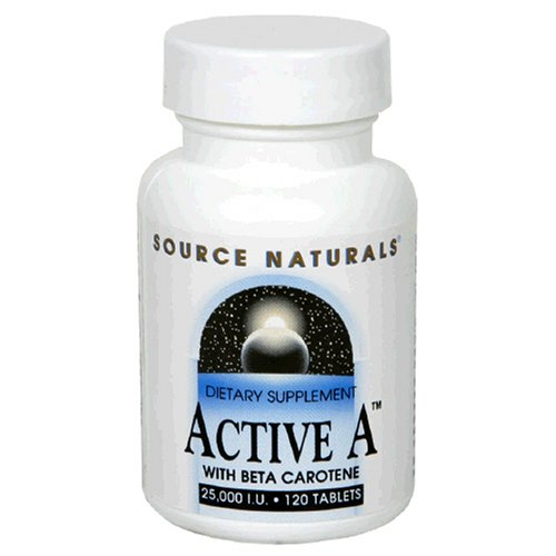 Source Naturals Active A with Beta Carotene 25,000IU, 120 Tablets (Pack of 4)