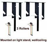 Ardinbir Studio 3x Chain Manual Drive Photography Background Backdrop Support System with Hooks, Rollers and Chains - Light Stand, Wall or Ceiling Mounted