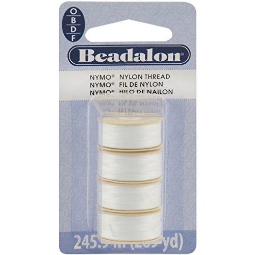Beadalon Nymo Thread, Sizes O,B,D,F All White (Thread Bead Seed)