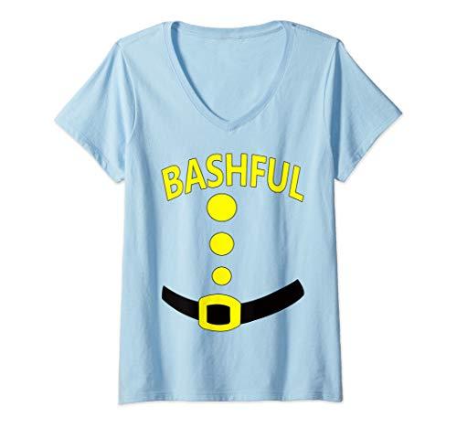 Womens Bashful Dwarf Halloween Costume Gift Idea Bashful Dwarf Top V-Neck T-Shirt