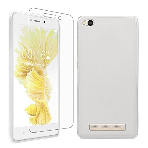 Gzerma for Xiaomi Redmi 4A Case with Screen Protector, Soft Shock-Absorption Scratch Resistant TPU Protective Cover and High Definition Clear, Bubble Free Protection Film for Xiaomi Redmi 4A, White