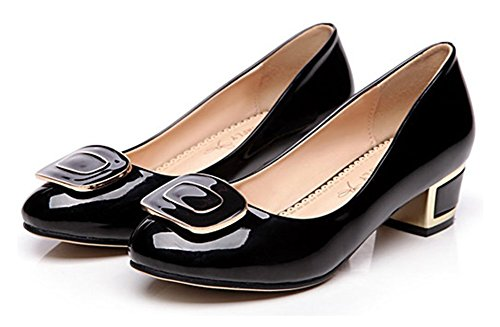 Easemax Womens Trendy Square Buckle Round Toe Low Top Slip On Chunky Mid Heel Pumps Shoes Black mLExa