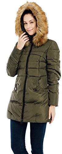 Fur 90D Jacket Hood Coat 57 2XL VALUKER Puffer Down Green Parka Women's with HqYOIfw