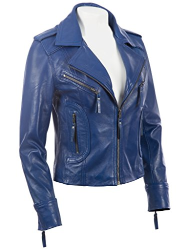 Morbida n8ul Elegante Da Vera In Giacca Aviatrix Blu Donna Pelle Motociclista qw4xXUX5tz