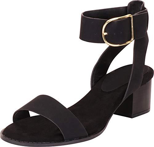 Cambridge Select Women's Open Toe Single Band Oversized Buckle Ankle Strap Chunky Block Mid Heel Sandal,7.5 B(M) US,Black NBPU