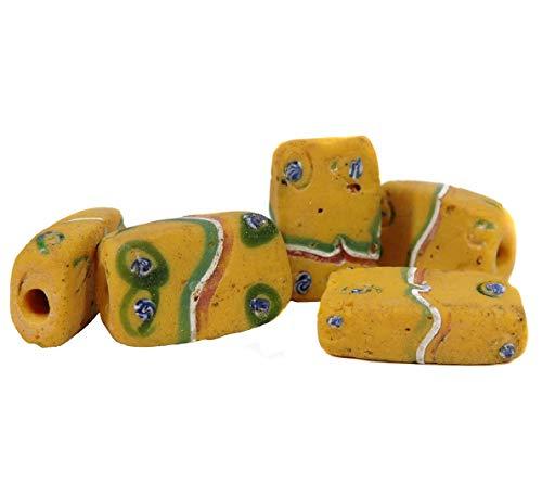 5 Tabular Venetian Trade Beads Yellow African -