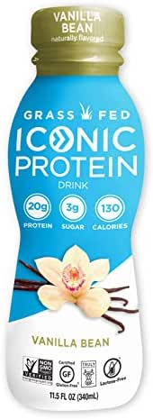 Iconic Grass Fed Protein Drinks, Vanilla Bean (12 Pack) | Low Carb, High Protein Shakes | Lactose Free, Gluten Free, Non-GMO, Kosher | Low Calorie Super Coffee Creamer | Keto Friendly