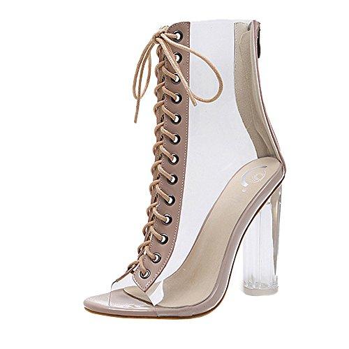 Nevera Womens Open Toe Lace Up Open Toe High Heel Sandals Transparent Bandage Ankle Boots Khaki ()