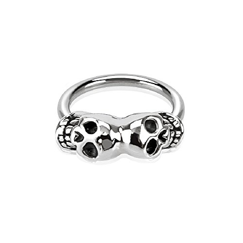 Pierced Owl 16GA Twin Skulls Captive Bead Septum Ring in 316L Stainless Steel ()