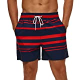 SILKWORLD Men's Quick Dry Swimming Trunks with Pockets SwimsuitSwimmingShorts, Navy/Red Stripe, X-Small