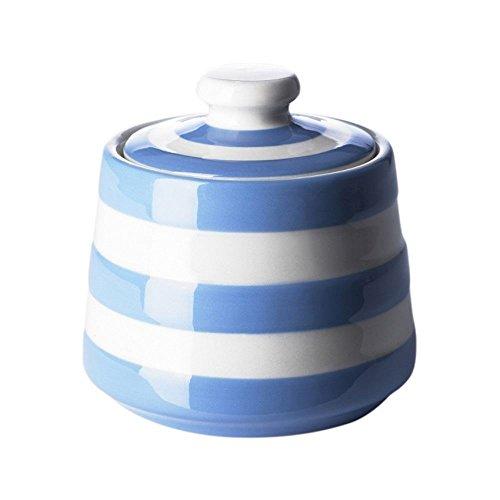Cornishware Blue & White Stripe Covered Sugar Bowl   Cornish Sugar Jar Pot Lid (Covered Blue Sugar Bowl)