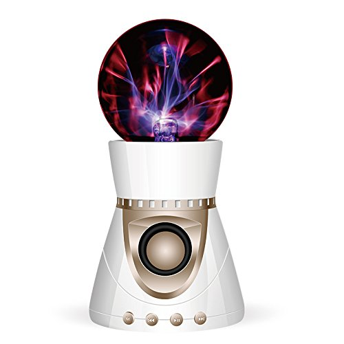 Bluetooth Speaker, Colorful Ion Ball Wireless Sound, Transparent Glass Ball, Such As Lightning and Thunder,White