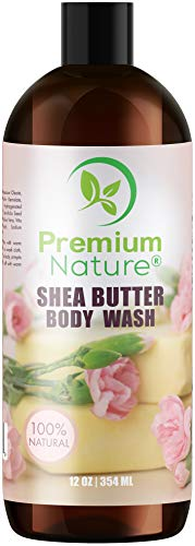 (Body Wash Women Shower Gel - All Natural Eczema Moisturizing Body Wash For Women Shea Butter Sulfate Free Body Wash Sensitive Skin 100% Pure Raw Shea Butter Deep Moisture Bodywash 12 oz)