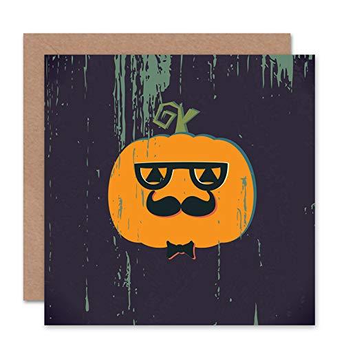 Wee Blue Coo NEW HALLOWEEN HIPSTER PUMKIN SPOOKY BLANK GREETINGS CARD ART CS360 -