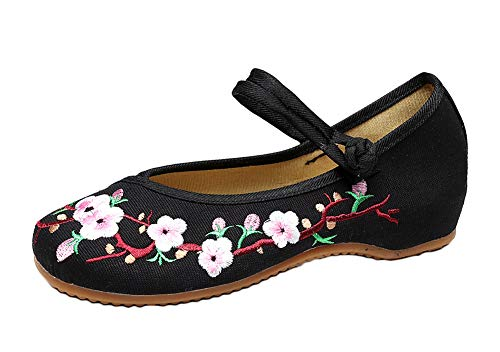 Embroidered Mary Jane - AvaCostume Embroidery Womens Classics Flats Rubber Sole Casual Shoes, Black1 41