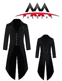 Mens Gothic Tailcoat Jacket Black Steampunk Victorian Coat