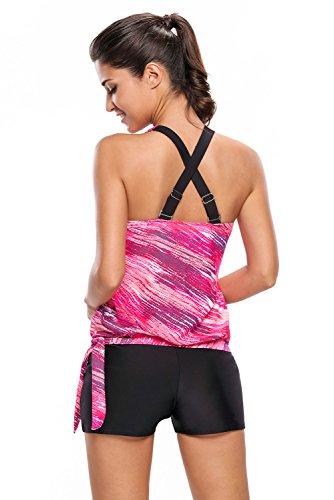 New rosy stampa Blusa con finiture nere 2PCS Tankini set bikini Swimwear estivo da costume da bagno taglia UK 18EU 46