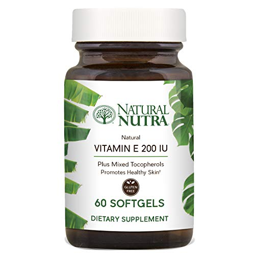 Natural Nutra d-Alpha Tocopherol Vitamin E 200 IU Supplement for Skin, Hair and Nails, Heart Health, Face Elasticity and Scar Repair, 60 Softgels