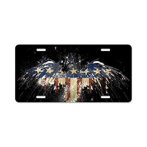 Khope Personalized Custom Eagle-Flag America Metal License Plate Frame 6 × 12
