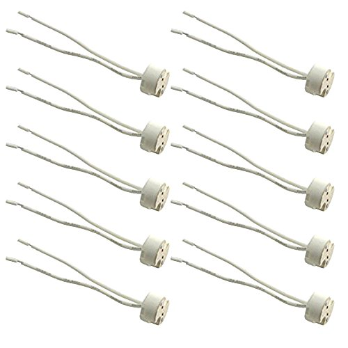 10pcs Glo-shine Mr16 Mr11 or G4 Socket,wire LED Halogen Lamp Ceramic Wire Connector Base Socket Adapter Mr16 Mr11 G4 GU5.3 Socket (10pcs)