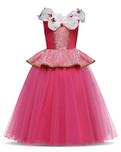 Girls Princess Cosplay Cinderella Costume Birthday Party Butterfly Outfit Kids Fancy Dress,130,5-6 Years,Rose