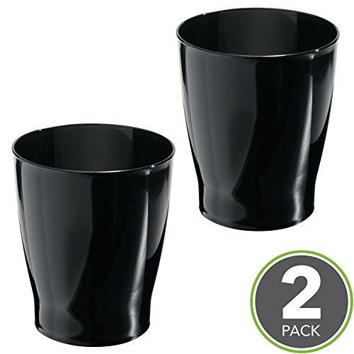 Wastebaskets Kids (mDesign Slim Round Plastic Small Trash Can Wastebasket, Garbage Container Bin for Bathrooms, Powder Rooms, Kitchens, Home Offices, Kids Rooms - Pack of 2, Black)