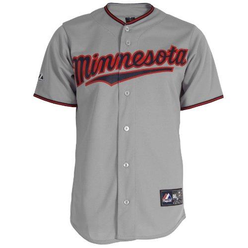 MLB Men's Minnesota Twins Delmon Young Grey Short Sleeve 6 Button Synthetic Replica Baseball Jersey Spring 2012  (Grey, Small)