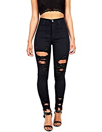 Women's Juniors High Rise Jeans w Heavy Distressing