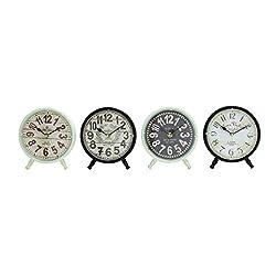 Benzara 92209 Attractive Styled Metal Desk Clock, Assorted
