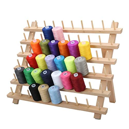 (Foldable Wooden Thread Rack Holder,Spool Cone Bobbins Spools Stand, Thread Organiser, Wall Mount Yarn Storage Spool Holder, Machine Sewing Embroidery Quilting Storage Holder,Sewing Craft Tools)