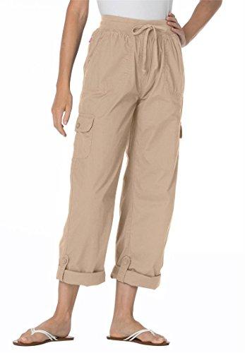 Women's Plus Size Pants With Convertible Length (New Khaki,16 W)