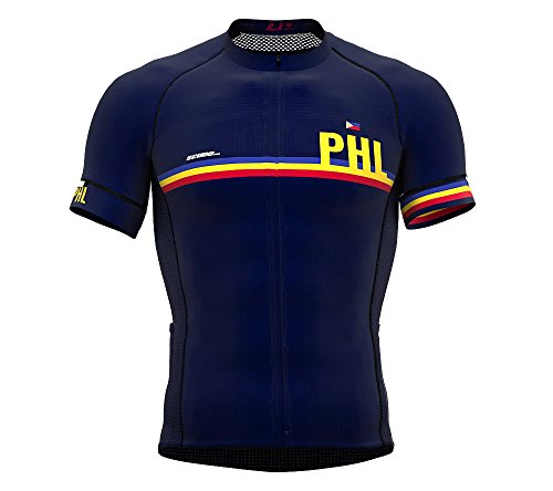 (Philippines Blue Code Short Sleeve Cycling PRO Jersey for Men - Size X-Large)