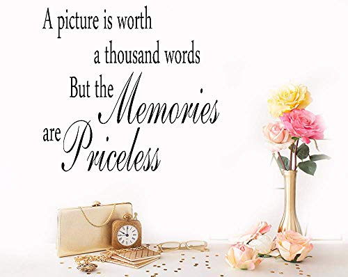 Seafti Lettering Words Wall Mural DIY Removable Sticker Decoration A Picture is Worth A Thousand Words But The Memories are Priceless for Living -