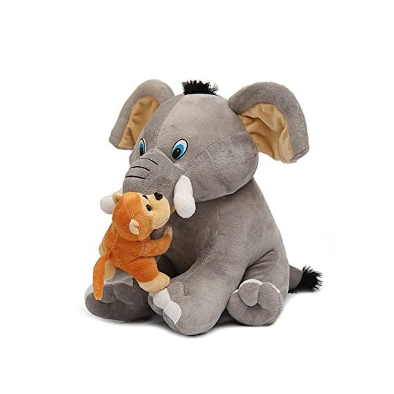 Babyjoys Premium Quality Elephant and Naughty Monkey Soft Toy, 30 cm (Grey)