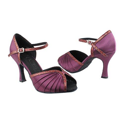 Zapatos De Paloma De Oro Fiesta De Fiesta Sera3830 Vestido De Noche Confort Bomba, Zapatos De Boda: Zapatos De Baile Para Salón De Baile Tacón Medio-alto, Salsa, Tango, Latino, Swing Salsa Columpio De Tango Latín 3830-púrpura Satén Y Púrpura Ajuste De La Escala