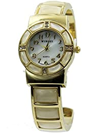 Women's Mother of Pearl and Gold Tone Watch Bangle Cuff Inlay Style with Crystal Accents